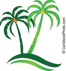 île tropicale, vecteur, logo