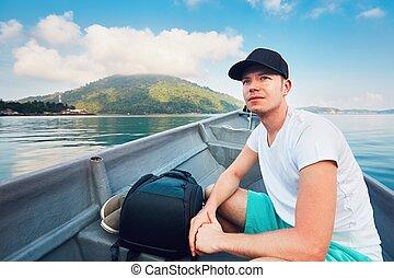 île tropicale, voyager, bateau, homme