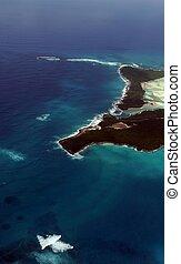 île tropicale, vue aérienne