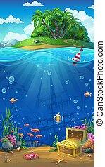 île, vecteur, -, illustration, océan