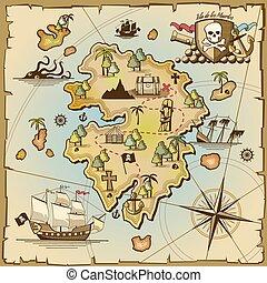 île, vecteur, pirate, carte trésor