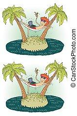 île, visuel, différences, jeu
