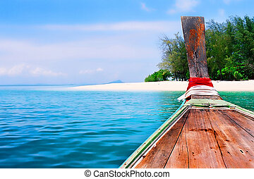 île, voyage, longtailboat, autour de
