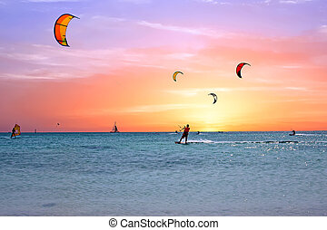île, watersport, mer caraïbes, aruba