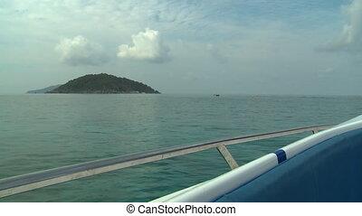 îles, bateau, mer, deux