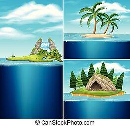 îles, différent, collection