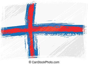 îles, faroe, grunge, drapeau