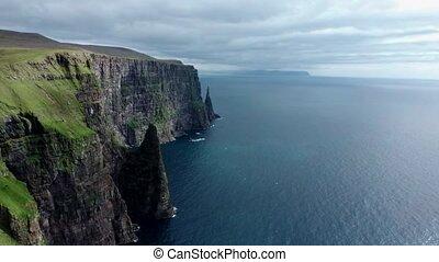 îles, glissement, appareil photo, long, escarpé, littoral, ...