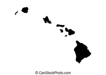îles hawaïennes, silhouette, noir