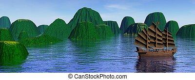 îles, jonque, oriental