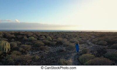 îles, marche, sunset., aérien, espagne, canari, robe, océan atlantique, tenerife, réserve naturelle, beau, distance., bleu, throuht, femme, visible, vue