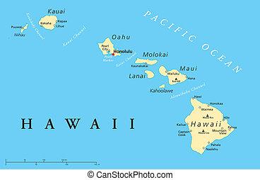 îles, politique, hawaï carte