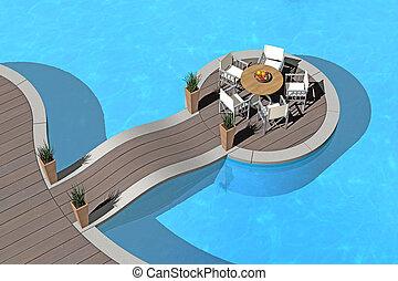 îlot, piscine