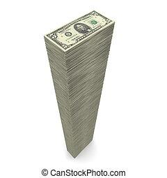 �, dinheiro, notas, dólar, 5, grande, pilha