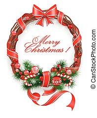 Ð¡hristmas wreath with spruce tree