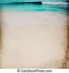 óceán, és, homok, háttér