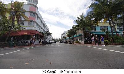 óceán kocsikázás, south tengerpart, alatt, miami, florida