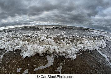 óceán lenget, törő, a, tengerpart