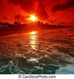 óceán, napkelte