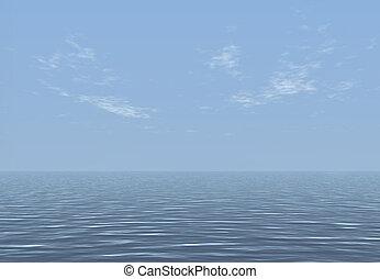 óceán, render, 3