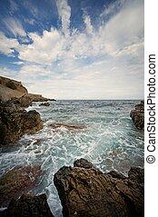 óceán, vawes, törő, kő