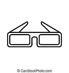 óculos, 3d, cinema, ícone
