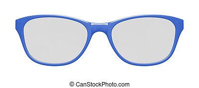 óculos azuis, branco, fundo