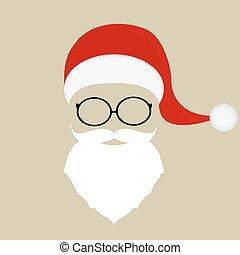 óculos, barba, chapéu, santa, bigode