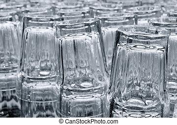 óculos bebida, em, filas