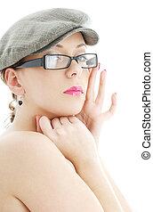 óculos, boné, topless, plástico, pretas, senhora