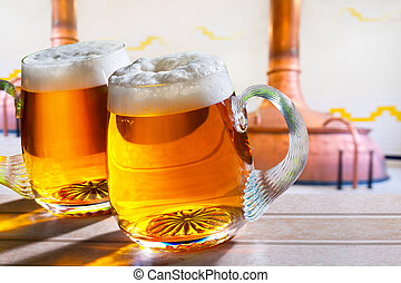 óculos cerveja, dois, cervejaria