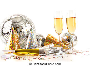 óculos champanha, bola, discoteca