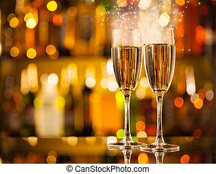óculos champanha, fundo, borrão