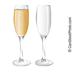 óculos, champanhe