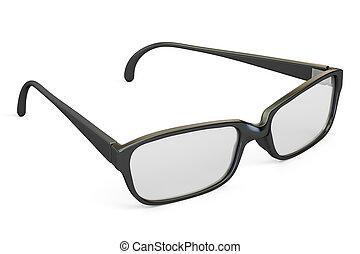 óculos, closeup, com, pretas, quadro, 3d, fazendo