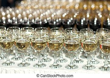 óculos, com, vinho