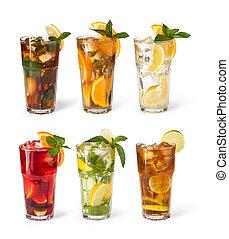 óculos, de, fruta, bebidas, com, cubos gelo