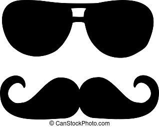 óculos de sol, bigode