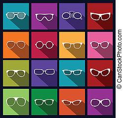 óculos de sol, coloridos, ícones