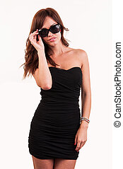 óculos de sol, excitado, mulher, posar