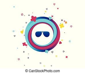 óculos de sol, glasses., sinal, icon., aviador, piloto