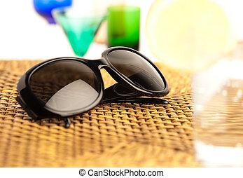 óculos de sol, ligado, vime
