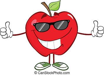óculos de sol, maçã vermelha