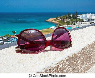 óculos de sol, mar, fundo