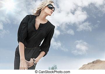 óculos de sol, menina, loura, bonito