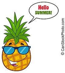 óculos de sol, personagem, fruta, verde, folheia, abacaxi, desenho, sorrindo, caricatura, mascote