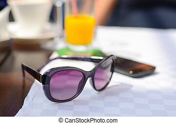 óculos de sol, restaurante, férias, mar, tabela, lado