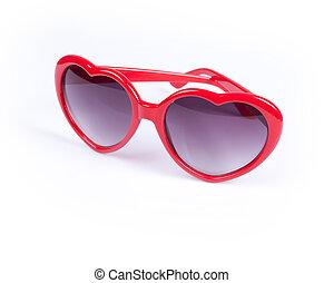 óculos de sol, vermelho, mulheres