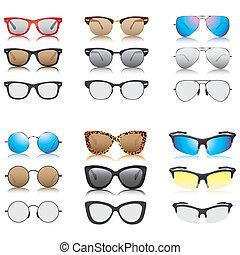óculos de sol, vetorial, jogo