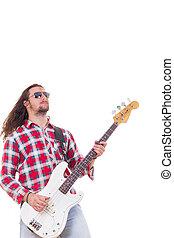 óculos de sol, violão elétrico, baixo, homem, tocando, camisa